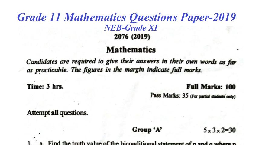 Grade 11 Mathematics Questions Paper-2019 - EDCOPY COM